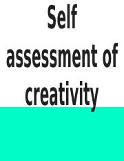 Self Assessment Measures of Creativity