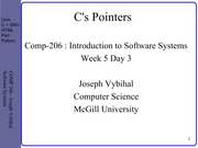 COMP 206 Lecture Week 5 Day 3 - C Pointers