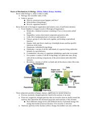 Midterm Review- Topic 1: Biochem and Biology