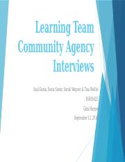 Learning Team Community Agency Interviews
