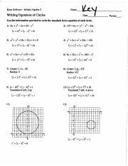 Circles Key.pdf - Kuta Software Infinite Algebra 2 Writing