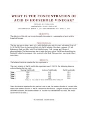 WHAT IS THE CONCENTRATION OF ACID IN HOUSEHOLD VINEGAR