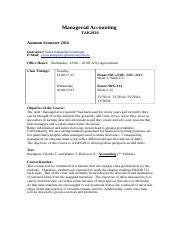 2016 autumn - Managerial Accounting Syllabus