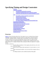 Specifying Timing and Design Constraints