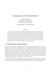 Paper5_M Armstrong_Competition in Two-Sided Markets