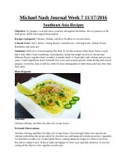 Asian Cusine Journal Week 7
