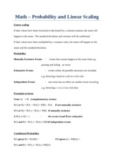 Math Notes - Probability and Linear Scaling