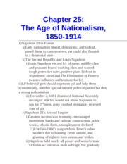 Chapter 25- The Age of Nationalism, 1850-1914