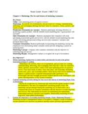 Marketing Exam 1 Study Guide (Revised)