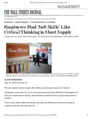Employers-Find-Soft-Skills-Like-Critical-thinking-in-Short-Supply-WSJ