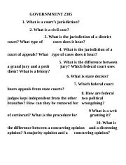 GOVERNMNENT 2305 Federal Judiciary questions