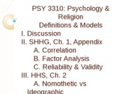 PSY 3310 - 3 - Definitions & Models - 1 - Outline