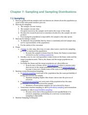 Business Statistics Reading Notes Chapters 7