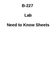 B-227 Lab Need To Know Sheets Fall 2010 9th ed