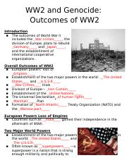 Outcomes of WW2 Clozed Notes