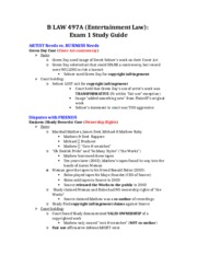B LAW 497A - Entertainment Law - Exam 1 Study Guide.docx