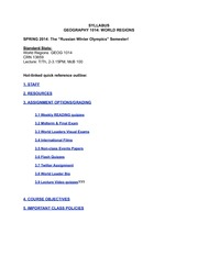 World Regions Syllabus Spring 2014