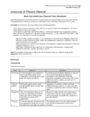 hcs 405 wk4 Hcs 405 wk4  university of phoenix material week four health care financial terms worksheet understanding health care financial terms is a prerequisite for both academic and professional success - hcs 405 wk4 introduction.