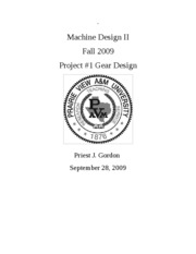 Machine Design II - Gear Design Cover