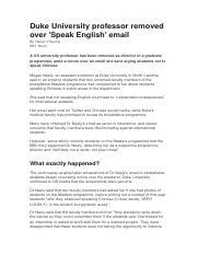 Duke University professor removed over 'Speak English' email docx