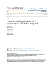 Communication Apprehension and its Relationship to Gender and Col