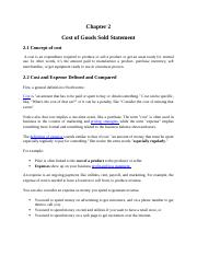 Chapter 2 Cost of Good Sold Statement.docx