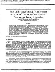 Fair Value Accounting A Historical Review Of The Most Controversial Accounting Issue In Decades