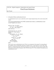 Final Exam Solution Fall 2010 on Introduction to Digital Logic and Computer Design