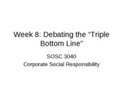 Week 8 Triple bottom line