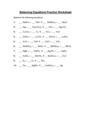 Balancing Equations Worksheet Part 1 - Balancing Equations Worksheet 1 ...