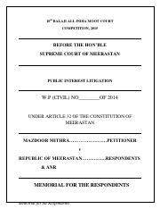 Constitution Petitioner pdf - 10th BALAJI ALL INDIA MOOT