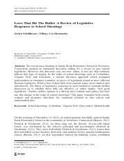 Laws That Bit The Bullet- A Review of Legislative Responses to School Shootings