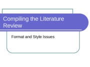 Compiling the Literature Review PowerPoint