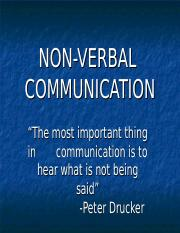 Non Verbal Final Ppt Non Verbal Communication U201cthe Most Important Thing In Communication Is To Hear What Is Not Being Said U201d Peter Drucker Course Hero It is one of several subcategories to emerge from the study of nonverbal communication. course hero