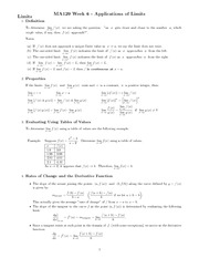 Chapter 6 - Application of limits study guide