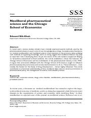 Edward Nik-Khan-Neoliberal pharmaceutical science and the Chicago School of Economics-August 2014.pd