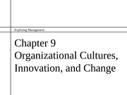 ch09 Organizational Cultures, Innovation, and Change