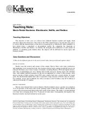 Movie Rental Business Case - Teaching Note.doc