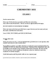 Chemistry Exam 1 Review