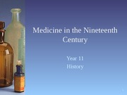 Medicine in the Nineteenth Century