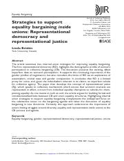 Strategies to support equality bargaining inside unions