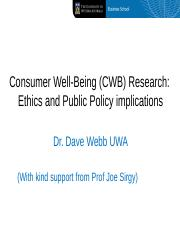 Consumers and Public Policy