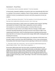 Worksheet 5 – Fiscal Policy