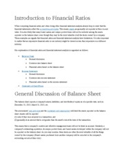 Introduction to Financial Ratios
