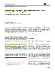 Parenting stress and quality of life in pediatric obesity The mediating role of parenting styles.pdf