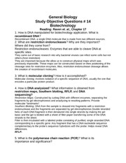 Study Objective Questions w/ Answers #14 Biotechnology