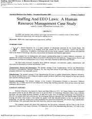 CASE Staffing and EEO Laws A HRM Case Study 2009