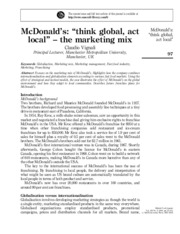 "McDonald's ""think global, act local"" â€"" the marketing mix"