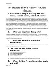 9th Honors World History Review Packet.docx