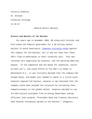 GM Bailout Research Paper